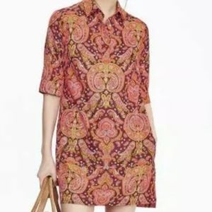 Banana republic retro boho shirt dress paisley 0